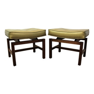 Mid-Century Gold Jens Risom Floating Top Stools - Pair