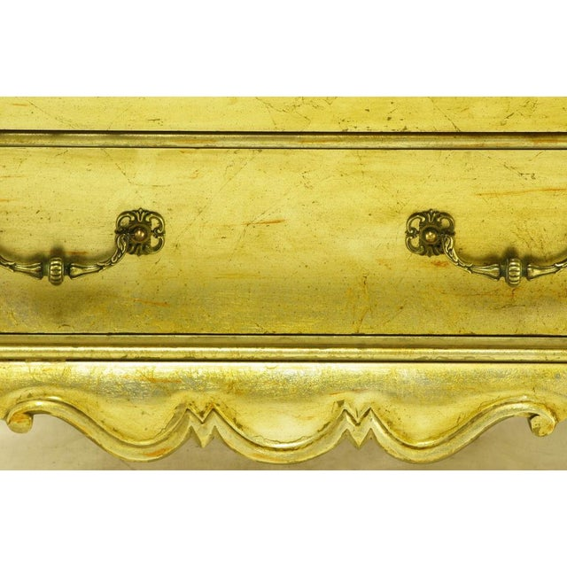 Pair Henredon Gold Toned Silver Leaf Bombe Two-Drawer Commodes - Image 9 of 10