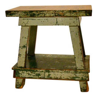 Vintage Shabby Chic Factory Work Table in Old Paint