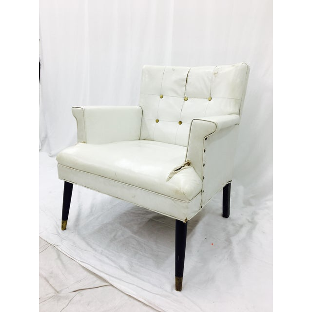 Vintage White Tufted Arm Chair Chairish