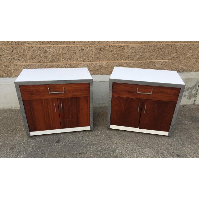 Rosewood & Chrome Night Stands by Milo Baughman - Image 2 of 4