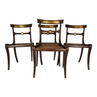 English 19th Century Regency Faux Grain Painted Chairs - Set of 4
