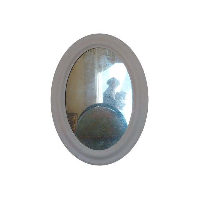Image of Oval Whitewashed Mirror