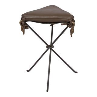 Leather Seat Tripod Base Stool, French
