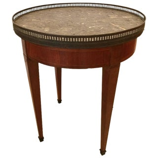 French Directoire Mahogany Satinwood Brass & Marble Side Table
