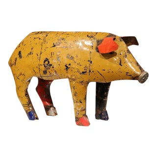 Vintage French Painted Tole Pig