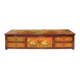 Chinese Tibetan Animal Graphic Low TV Console / Coffee Table