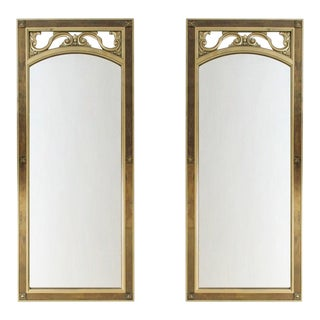 Mid-Century Modern Gilded Wood & Brass Wall Mirrors - A Pair
