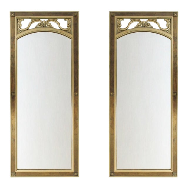 Image of Mid-Century Modern Gilded Wood & Brass Wall Mirrors - A Pair