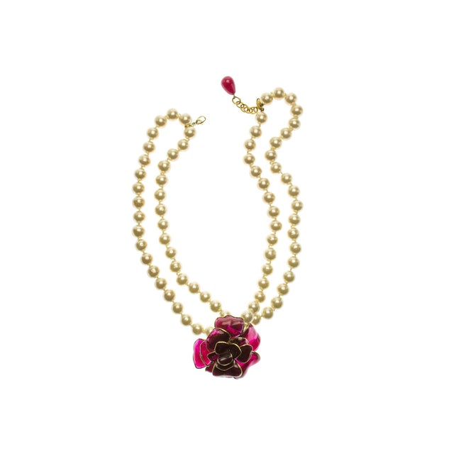 Image of Chanel Vintage Faux Pearl & Pendant Necklace