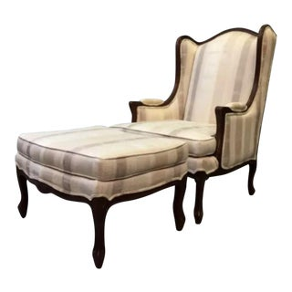 Ethan Allen Country French Style Chair & Ottoman