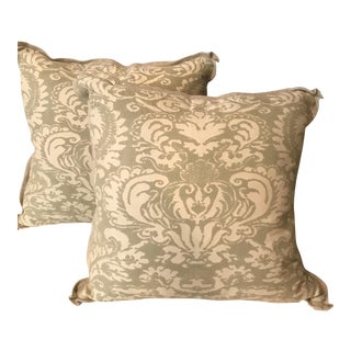 Pair of Fortuny Pillows , Backed in Heavy Belgian Linen . Down Fill .