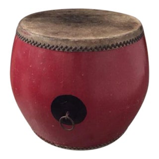 Red Lacquer & Leather Chinese Drum