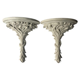 White Rococo Wall Sconce Shelves - A Pair