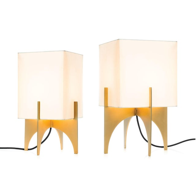 Small Modern Brass Thick Accent Lamp - Image 3 of 5