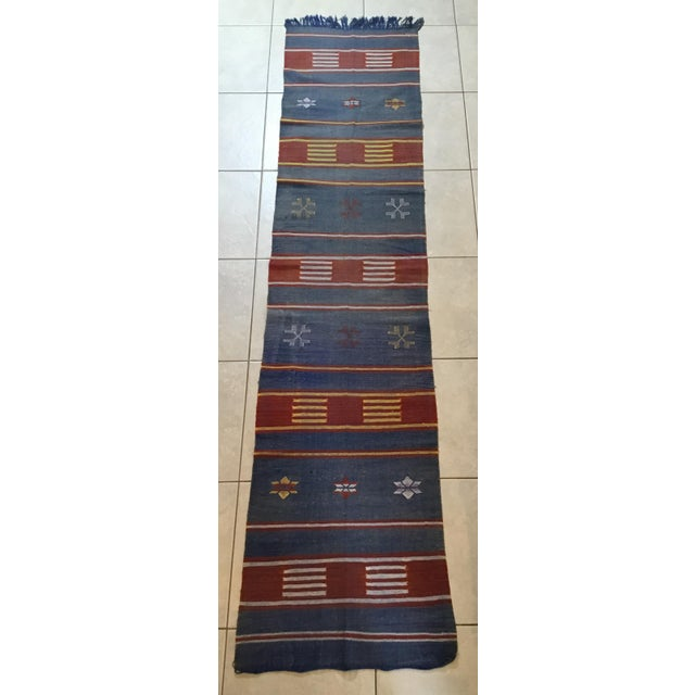 "Moroccan Cactus Silk Flat Weave Kilim Runner Rug - 25"" x 108"" - Image 2 of 11"