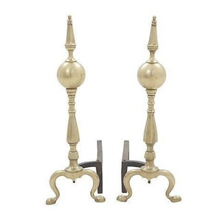 Antique Brass Andirons - A Pair