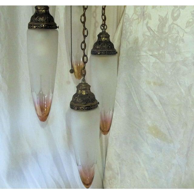 Image of Five Pendant Art Deco Chandelier