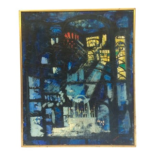 Mid-Century Abstract Cathedral Painting