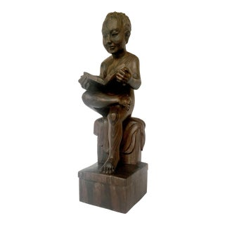 Classical Hand-Carved Reader Sculpture
