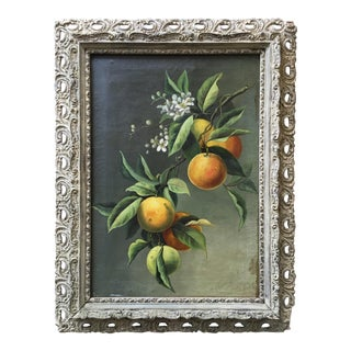 Antique Fruit Oil Painting and Custom Frame