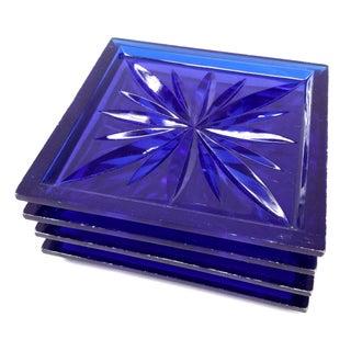 Mid Century Cobalt Blue Cut Lucite Coasters - 4