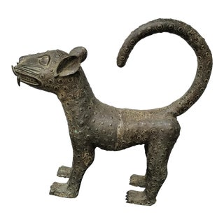 Antique Bronze Leopard Statue