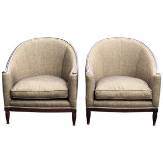 Deco Walnut Carved Upholstered Lounge Chairs - A Pair