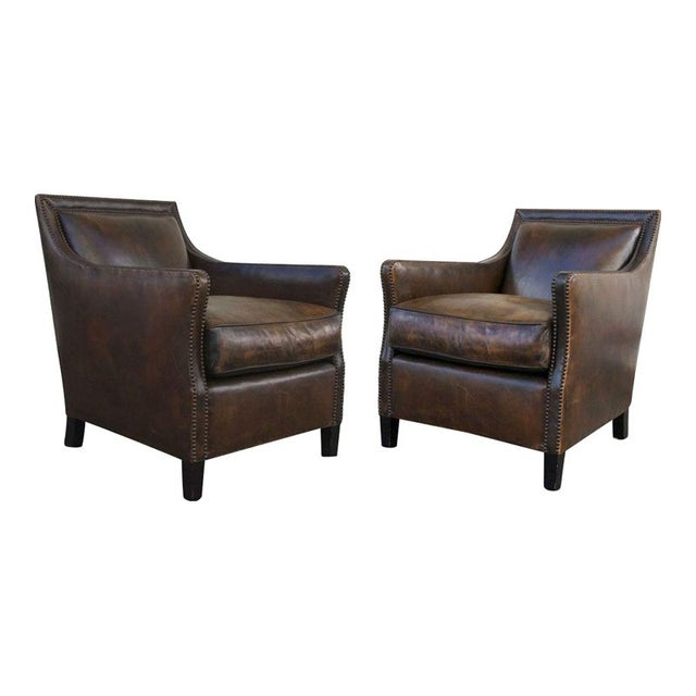 Leather Boston Club Chairs By Jean De Merry Chairish