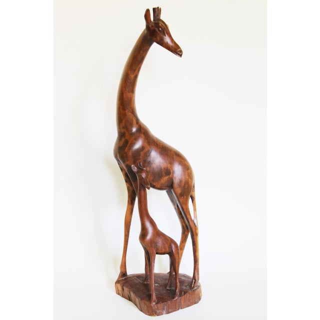 African Mother and Child Giraffe Carving - Image 3 of 6