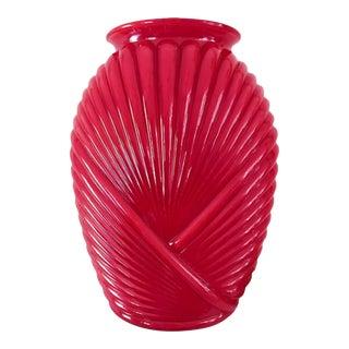 Vintage Red Ribbed Glass Vase