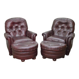 Bradington Young Oxblood Leather Tufted Recliner Club Chairs w/ Ottomans - A Pair