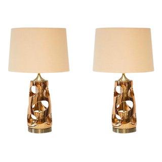 Sculptural Gold Lamps - A Pair