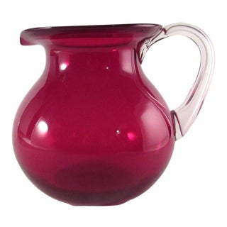 Hand Blown Cranberry Glass Pitcher