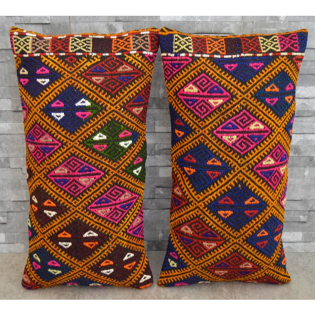 Vintage Turkish Kilim Rug Pillow Covers- A Pair - Image 3 of 5