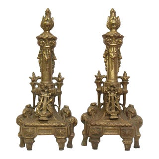 Cast Brass Decorative Andirons - A Pair