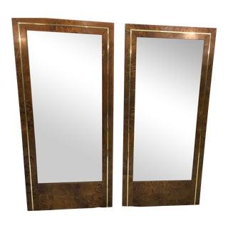 Mid Century Burl & Brass Mirrors - a Pair