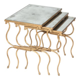 Set of Bronze Gilt Nesting Tables, in the Style of Rene Prou