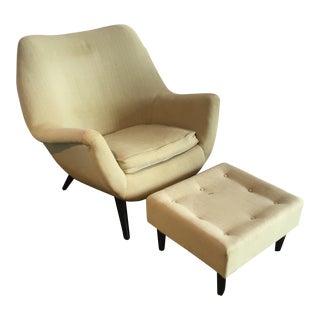 Mid-Century Modern Lounge Chair & Ottoman - A Pair