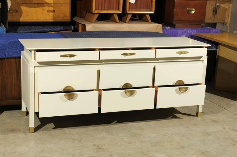 Restored Nine Drawer Chest By Johnson Furniture Company In Cream Lacquer    Image 4 Of