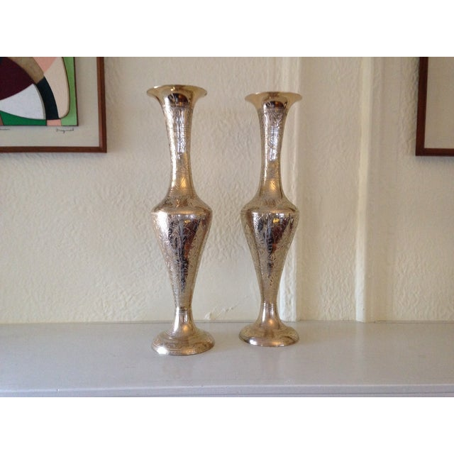 Tall Vintage Brass Vases - a Pair - Image 3 of 9