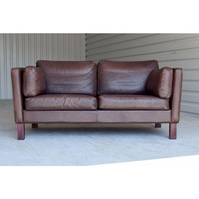 Image of Vintage Danish Leather Loveseat