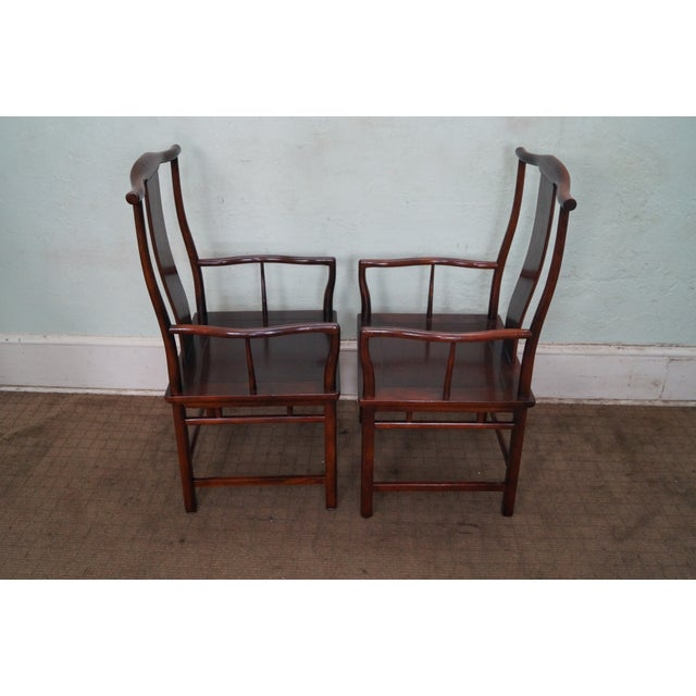 Baker Asian Mahogany Dining Chairs - Set of 8 - Image 9 of 10