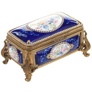 19th-C. French Gilt Bronze & Enamel Box