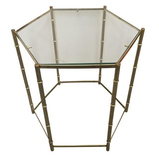 Vintage Faux Bamboo Brass Side Table