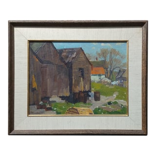 Ferdinand Kaufmann -Shacks and empty Barrels -1930s Pasadena View-Oil painting