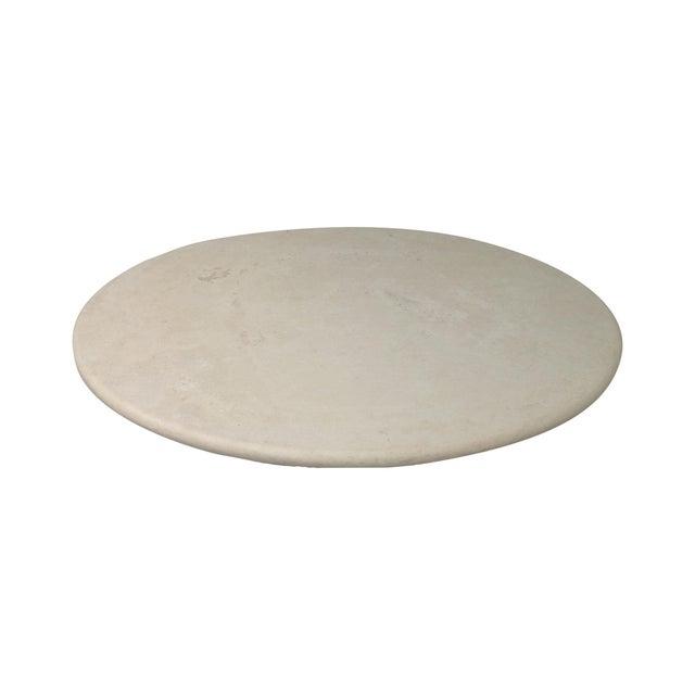 Round Cream Travertine Table Top - Image 1 of 3