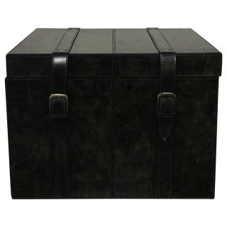 Leather Black Storage Trunk Box