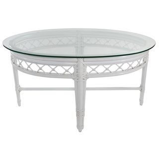 Ficks Reed Trellis White Rattan Coffee Table