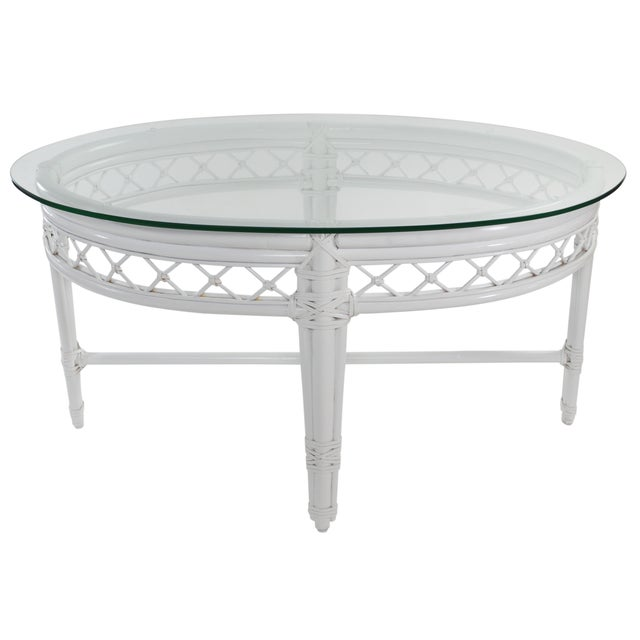 Ficks reed trellis white rattan coffee table chairish White wicker coffee table